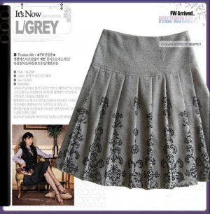 S3-Grey pleated skirt - M size