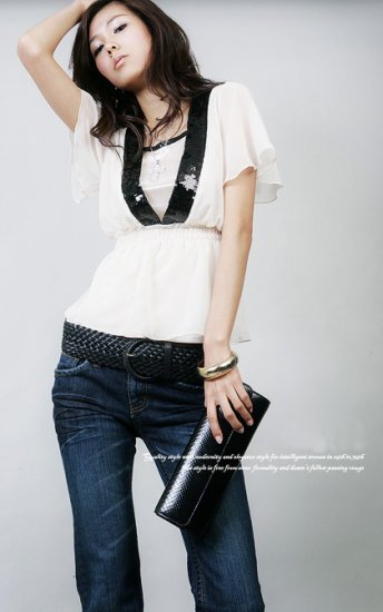 T55-White Chiffon V-neck top with sequin details