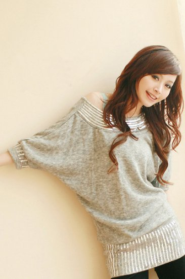 T52-Sequinned knit top/dress
