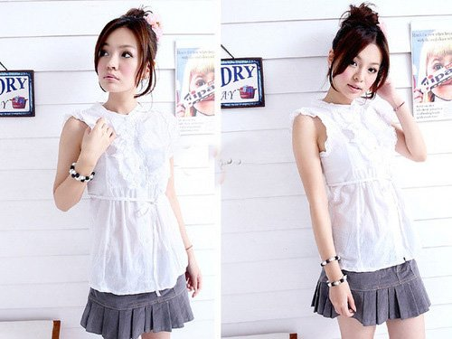 Sleeveless ruffled top - White