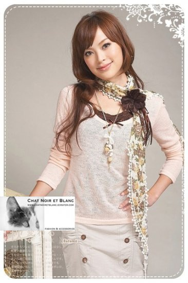 T43-3-pc set long sleeve top w/ brown camisole and brooch