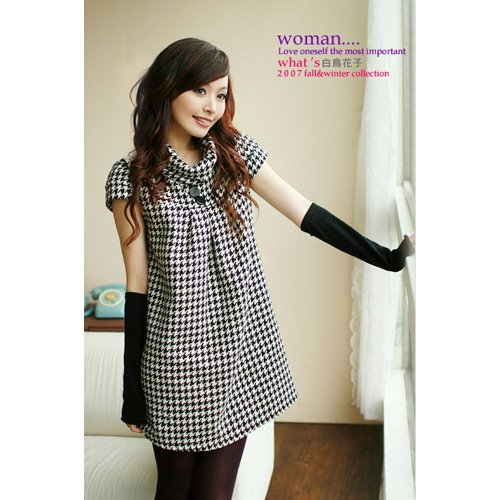 D10-British Style Classic Checks Wool Flannelet Dress