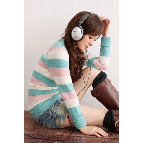 T12-Stripes Knitted V-neck Long Pullover (COLOUR-purple/beige/blue)