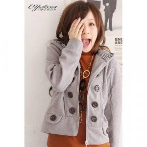 T9-Grey big-button fleece jacket
