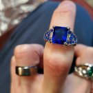 Cut Blue Sapphire 10kt white gold filled Wedding Band Ring Jewelry Size 6
