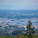 City Skyline Bridge Ships Digital Art Image Photograph