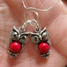 Silver Plated Owl Red Turquoise Dangle Earrings Women's Fashion Jewelry Trendy