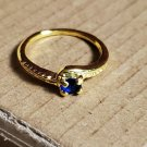 Size 4.5 Gold Tone Blue Sapphire Ring Women Girl Teen Jewelry Simple Dainty Cute