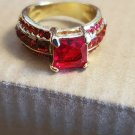 Yellow Gold Filled Red Ruby and Rhinestone Size 7 Unisex Jewelry Fashion Style