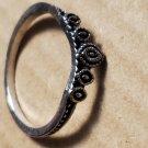 Silver Tone Tiara Crown Style Theme Size 7 Women Ring Jewelry Fashion Vintage