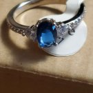 Silver Plated Oval Blue Sapphire and Rhinestone Size 7 Ring Jewelry Women Style