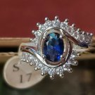 Silver Plated Oval Blue Sapphire and Rhinestone Size 7 Ring Jewelry Women Eye
