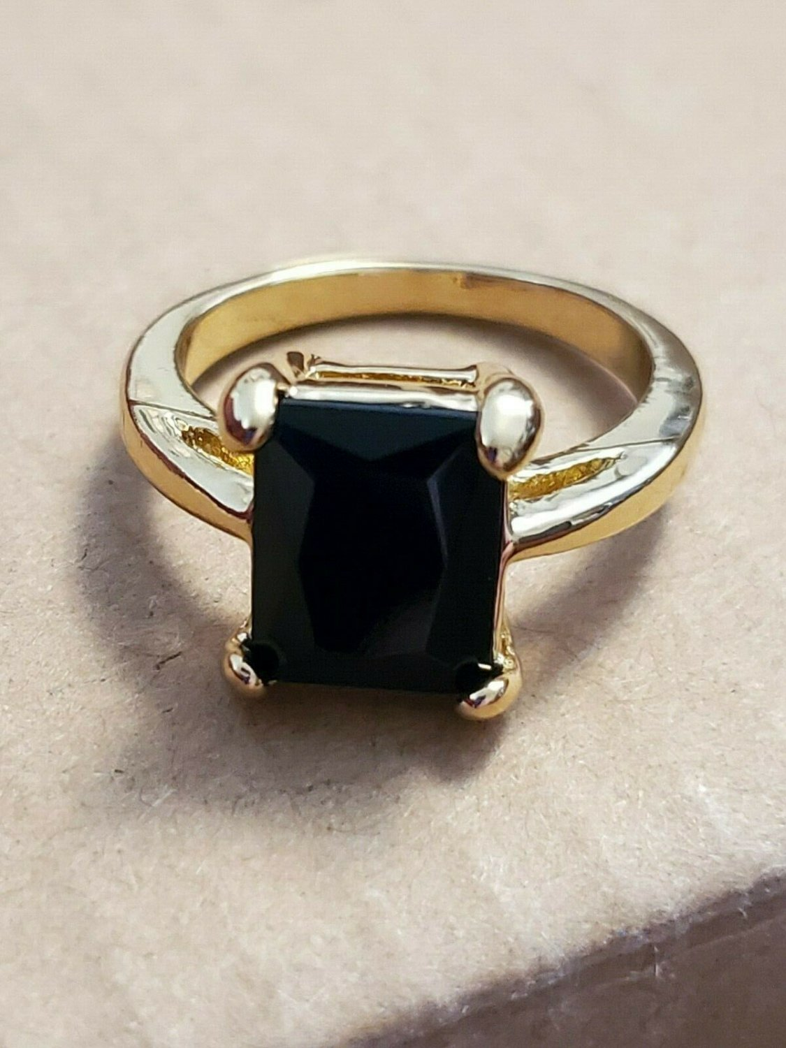 Yellow Gold Filled Black Rectangle Topaz Size 7 Ring Women Jewelry Fashion Style
