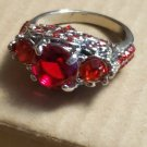 Silver Plated Red Ruby Size 7 Ring Women Jewelry Fashion Style Elegant Trendy