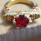 Yellow Gold Filled Red Ruby Punk Skull Ring Size 7 Unisex Jewelry Fashion Style