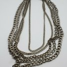 Stainless Steel Link Chain 5 Layered Necklace Box Clasp Women Jewelry Fashion
