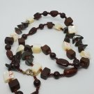 Handmade Artisan Died Mother of Pearl Howlite and Wood Bead Necklace Jewelry