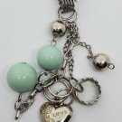 Long Silver Tone Green Bead Necklace Heart Love Charm Jewelry Style Fashion Drop