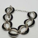 Silver Tone Rhinestone Black Enamel Bracelet Circle Linked Jewelry Fashion Style