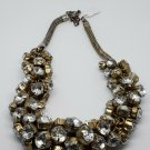 Vintage Silver and Gold 2 Tone Rhinestone Cluster Collar Necklace Jewelry Style