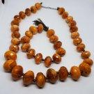 Avon Style Necklace and Bracelet Set Orange Plastic Beads With Metal Tassel Cute