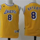 Youth Los Angeles Lakers Kobe Bryant Yellow Throwback Kids Basketball Jersey Embroidered