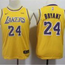 Youth Los Angeles Lakers Kobe Bryant Yellow Kids Basketball Jersey Embroidered