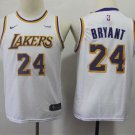 Youth Los Angeles Lakers Kobe Bryant White Kids Basketball Jersey Embroidered