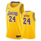 Men's Los Angeles Lakers Kobe Bryant 24 Yellow Throwback Jersey Embroidered