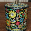 Vintage Round Black Enameled Floral Tin Container
