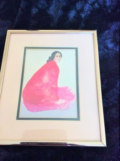 Mid Century Modern Lithograph Woman In A Red Shawl