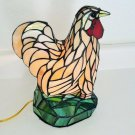 Farmhouse Chicken Rooster Tiffany Style Slag Glass Lamp