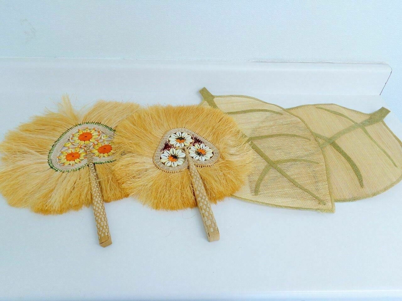 Antique Polynesian Cuscus Pampas Grass Fan Set