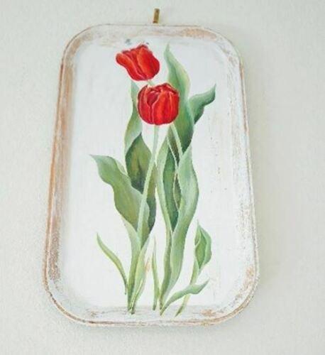 Vintage Farmhouse Tulip Serving Tray