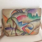 Vintage Modern Painted Leather Crossbody Bag