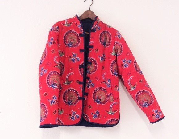 70s Vintage Chinese Quilted Peacock Jacket