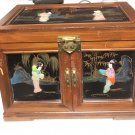 Vintage Lacquer & Wood Geisha Girl Jewelry Box