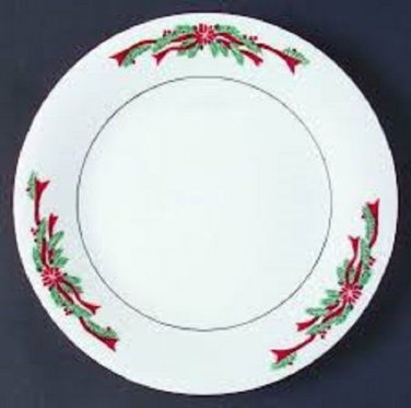 "Set of 2 6"" Saucers Fairfield Fine China Poinsettia & Ribbons Pattern"