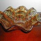 "Vintage Amber Glass Candy dish  Bowl 4-1/2"" No Chips Or Cracks"