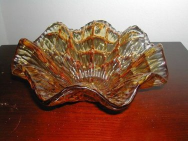 "Vintage Amber Glass Candy dish  Bowl 4-1/2"" No Chips Or Cracks"