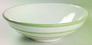 "Pfaltzgraff Round Vegetable Bowl Green Stripes Sphere Pattern 9"" Excellent !"