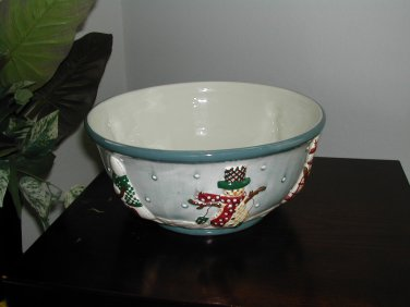 "Beautiful 11"" Make The Season Bright Embossed Decorative Christmas Bowl"