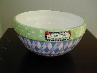 "Grandma's Little Helper Ceramic Mixing Bowl 9"""