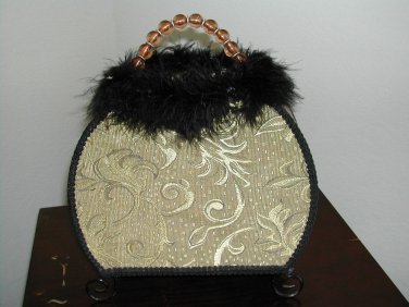Beautiful purse shaped accent lamp night light with fur and beads