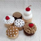 Hand Sewn Wool Felt 6 Cupcakes Discount | Play Food