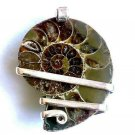 46.30 ct Sterling Silver Wire Wrap Pendant Ammonite Crystal,Necklace