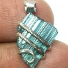 6.30 Carats Natural Paraiba Tourmaline Crystal in Silver Wire wrap Art Necklace
