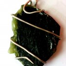 61ct Sterling Silver Wire Wrap Pendant W/ Bi Color Tourmaline Crystal,Handmade