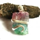 12.60 Watermelon Tourmaline Slice in Sterling Silver Art Wrap Pendant