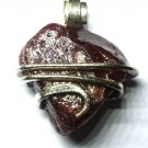 24.50 ct Natural Rough Ruby Crystal in Sterling Silver Pendant Wrap Necklace